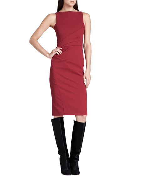 J. Mendel Boat-Neck Fitted Sheath Dress, Bordeaux