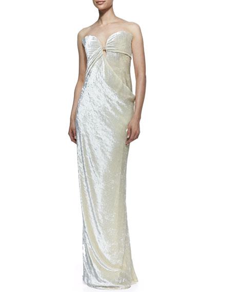 Strapless Velvet Bustier Column Gown