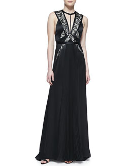 J. Mendel Sleeveless Gown with Lace-Overlay Bodice
