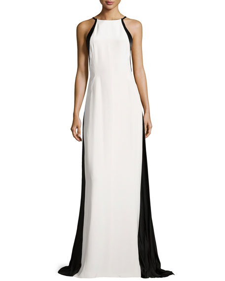 J. Mendel Halter-Neck Colorblocked Gown, Ivory/Black