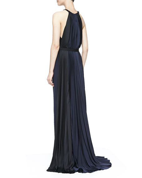 Halter-Neck Colorblocked Gown