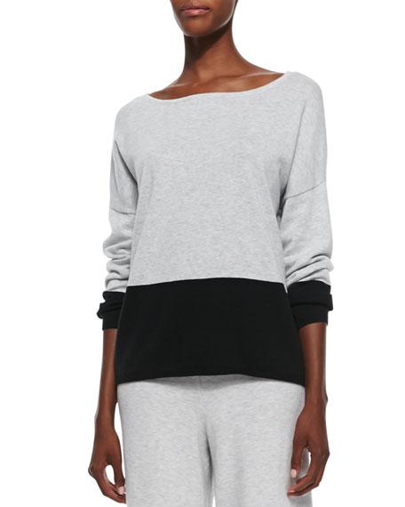 Joan Vass Long-Sleeve Colorblocked Cotton Top, Women's