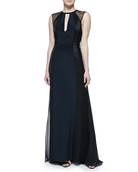 J. Mendel Sleeveless Gown with Lace Shoulders