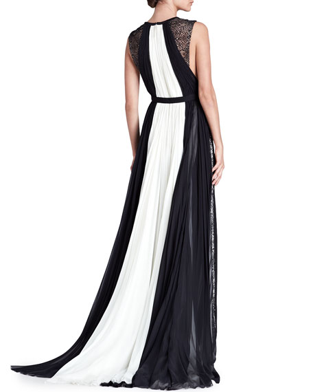 Colorblock Keyhole Ball Gown, Ivory/Black