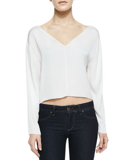 Alice + Olivia Drop-Shoulder Silk Crop Top