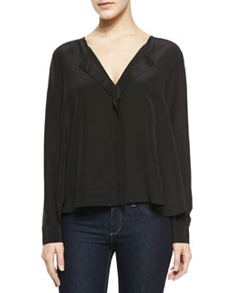Alice + Olivia Long-Sleeve V-Neck Top
