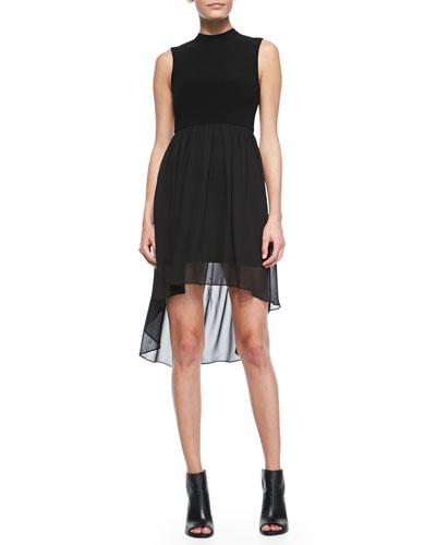 Alice + Olivia Chiffon-Overlay High-Low Dress