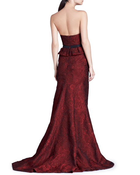 Organza Jacquard Bustier Gown, Scarlet