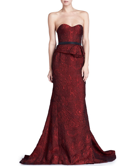 J. Mendel Organza Jacquard Bustier Gown, Scarlet