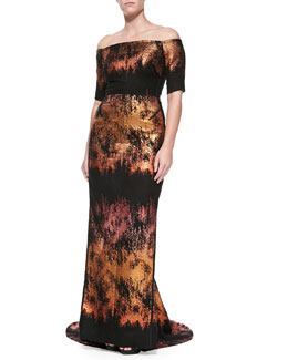 J. Mendel Off-the-Shoulder Painted Gown, Copper Multi