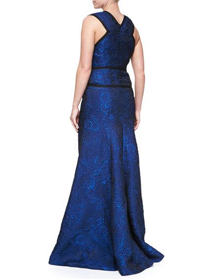 Sleeveless V-Neck Jacquard Gown
