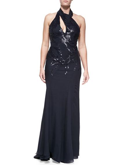 Embellished Halter Gown, Navy