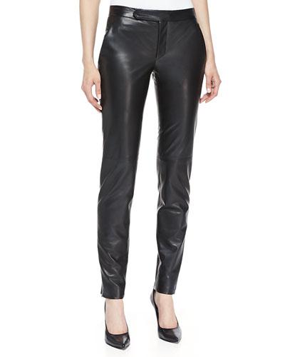 J. Mendel Straight-Leg Slim Leather Pants