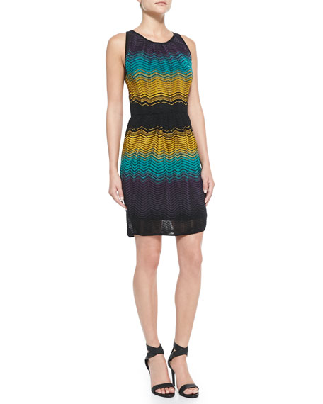 Colorblocked Ripple-Knit Sheath Dress