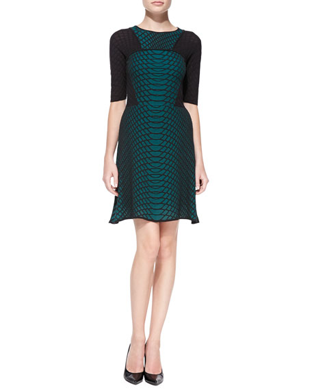 Web Knit Half-Sleeve Dress
