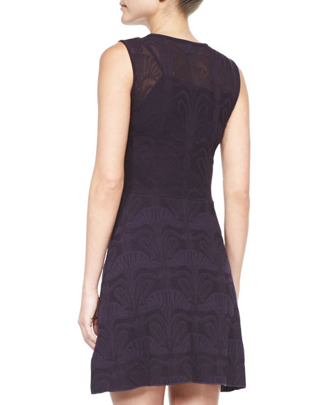 Lily of the Valley Sleeveless Jacquard Dress, Purple