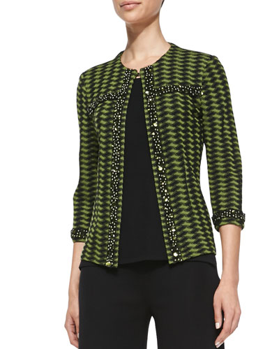 Misook 3/4-Sleeve Textured Bead-Trim Jacket