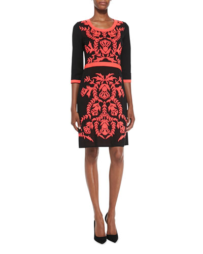 Misook 3/4-Sleeve Patterned-Front Dress, Petite