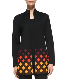 Misook Long Diamond-Print-Trim Jacket