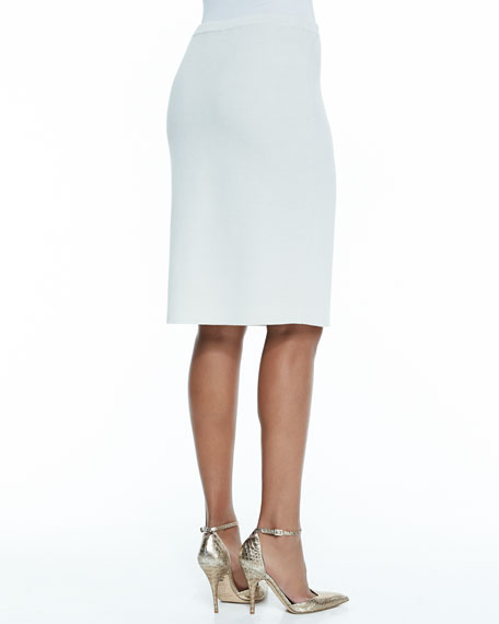Silk-Cotton Straight Skirt, Petite