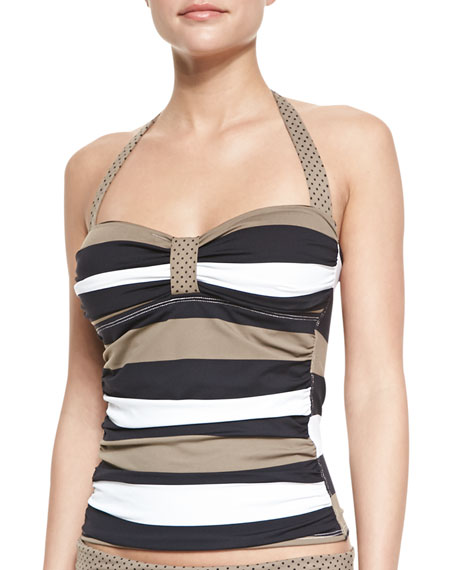 Dotted/Striped Halter Tankini Top