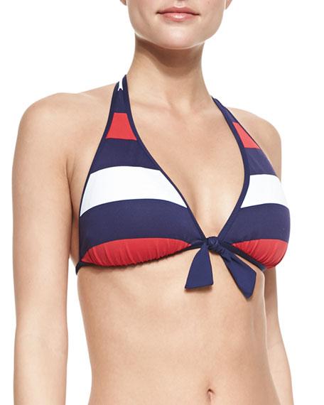 Mare Rugby-Stripe Reversible Halter Bikini Top