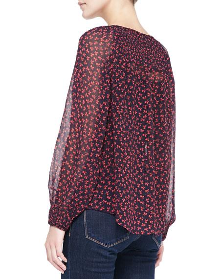 Vivette Floral-Print Silk Tassel Blouse
