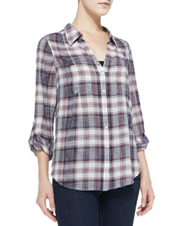 Joie Cartel Loose Plaid Cotton Blouse