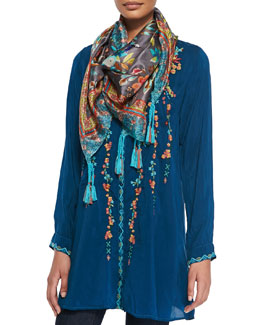 Johnny Was Collection Hummingbird Printed Silk Georgette Scarf