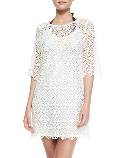 Miguelina Katarina Daisy Lace Crochet Coverup Dress