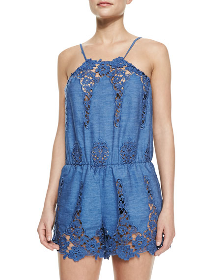 Cicley Floral Crochet Romper Coverup