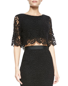 Miguelina Lou Swirly-Lace Crop Top