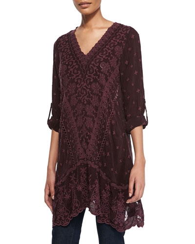 Johnny Was Collection Yen Embroidered V-Neck Tunic, Deepest Plum