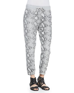 Pam & Gela Snake-Print Basic Cropped Pants
