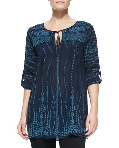 Johnny Was Collection Lacy Georgette Embroidered Tunic