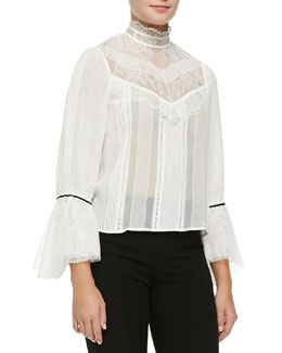 Alice + Olivia Brett Sleeveless Victorian Trumpet-Neck Blouse
