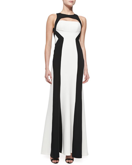 Bethany Two-Tone Crepe Gown