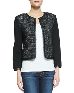 Alice + Olivia Kidman Leather-Trim Glittered Jacket