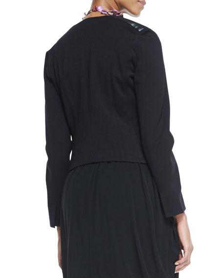 Angled-Front Leather-Shoulder Jacket