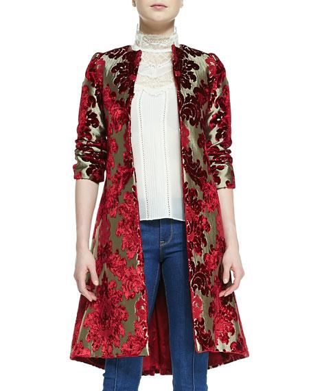 Duchess Velvet-Jacquard Mid-Length Coat