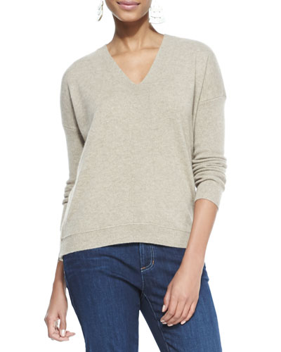 Eileen Fisher V-Neck Cashmere Wedge Top, Almond