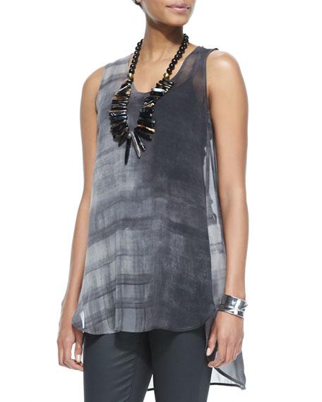 Sleeveless High-Low Printed Silk Tunic