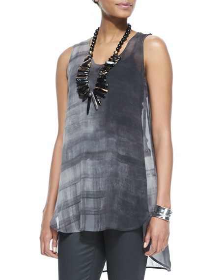 Sleeveless High-Low Printed Silk Tunic, Petite