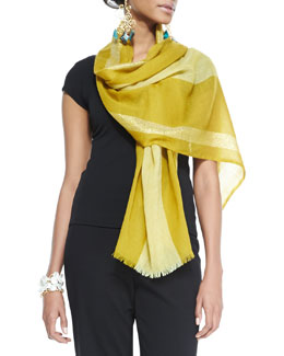 Eileen Fisher Metallic-Border Striped Modal Scarf, Mustard Seed