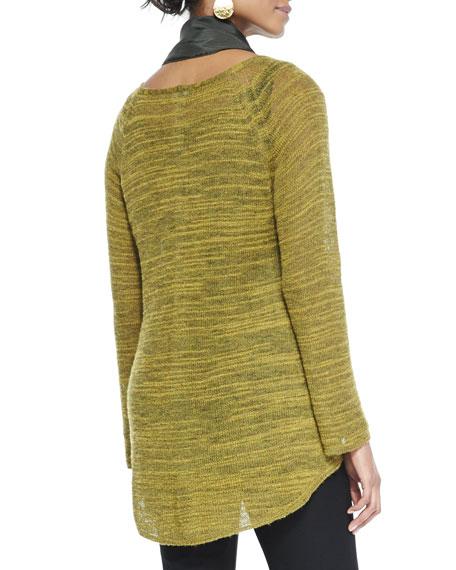 Slub-Knit V-Neck Tunic, Mustard Seed, Petite