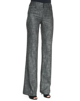 Nanette Lepore Paperback Wide-Leg Patterned Suit Pants