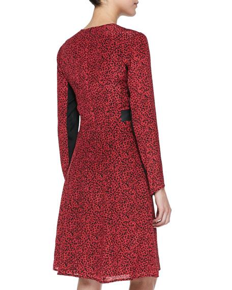Dewey Decimal Leather-Trim Dress