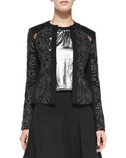 Nanette Lepore Protagonist Embroidered Sheer-Inset Jacket