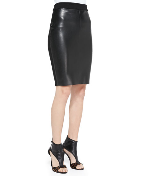 Pine Cone Faux Leather/Jersey Skirt