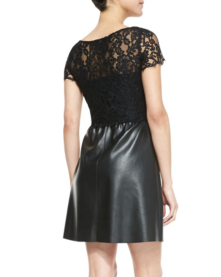 Stary Sky Lace & Faux-Leather Short-Sleeve Dress